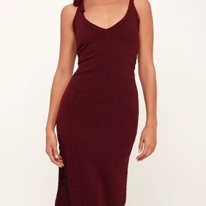 Tie-Strap Ribbed Knit Midi Dress
